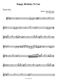 Zum Geburtstag viel Glück: Für Tenorsaxophon PlayAlong by Mildred Hill