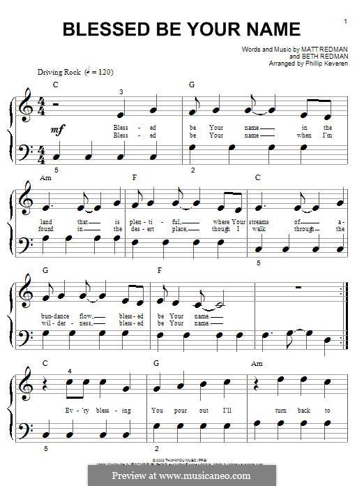 Blessed Be Your Name: Für Klavier by Matt Redman, Beth Redman