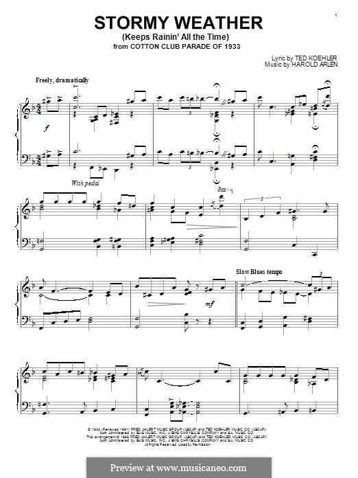 Stormy Weather (Lena Horne): Für Klavier by Harold Arlen
