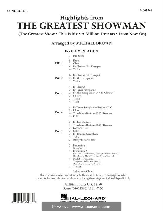 Highlights from The Greatest Showman: Conductor score (full score) by Justin Paul, Benj Pasek