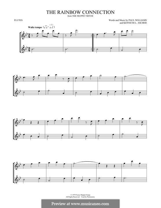 The Rainbow Connection (Kermit the Frog): Für zwei Flöten by Paul H. Williams, Kenneth L. Ascher