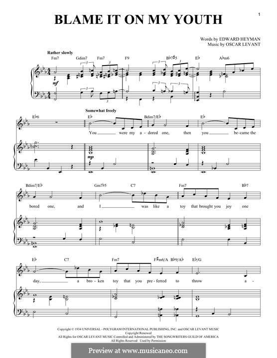 Blame It on My Youth: Für Stimme und Klavier by Oscar Levant
