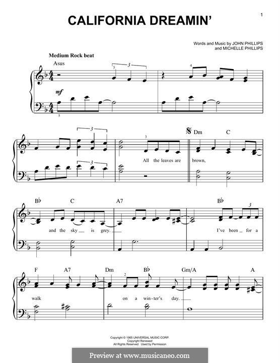 California Dreamin' (The Mamas & The Papas): Für Klavier by John Phillips, Michelle Phillips