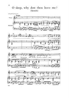 Semele, HWV 58: O sleep, Why dost thou leave me, Low Voice by Georg Friedrich Händel