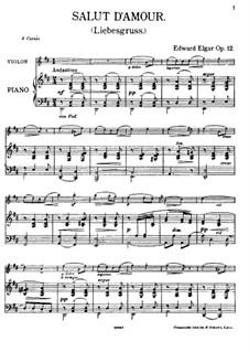 Liebesgruss, Op.12: Für Violine und Klavier by Edward Elgar