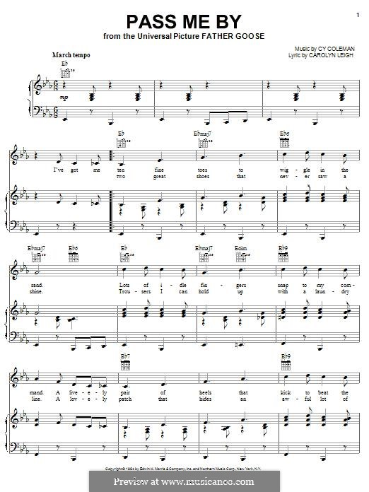 Pass Me By: Für Stimme und Klavier (oder Gitarre) by Cy Coleman