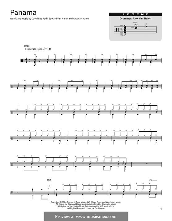 Panama (Van Halen): Drum set by Alex Van Halen, David Lee Roth, Edward Van Halen, Michael Anthony
