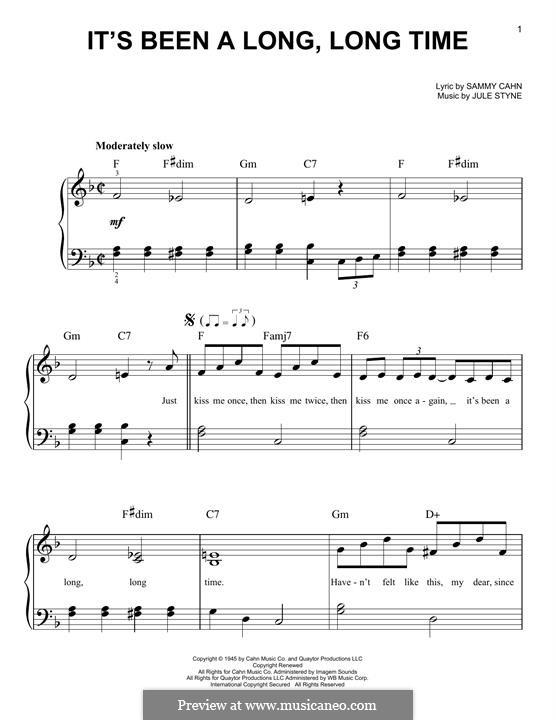 It's Been a Long, Long Time: Für Klavier by Jule Styne