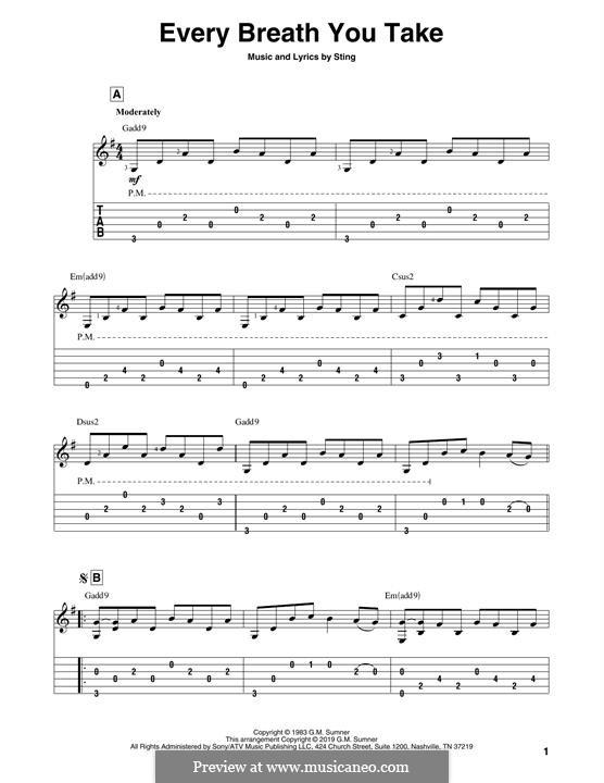Every Breath You Take (The Police): Für Gitarre by Sting