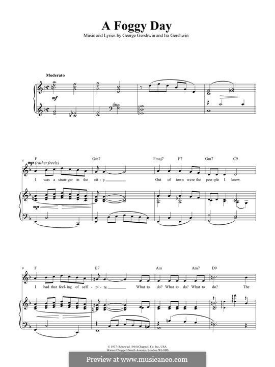 A Foggy Day (In London Town): Für Stimme und Klavier (oder Gitarre) by George Gershwin