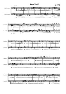 Duos for 2 Bass clarinet, Volume 1: Duo No.12, MVWV 949 by Maurice Verheul