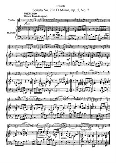 Sonate Nr.7: Bearbeitung für Violine und Klavier by Arcangelo Corelli