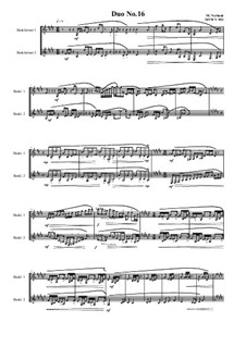 Duos for 2 Bass clarinet, Volume 1: Duo No.16, MVWV 953 by Maurice Verheul