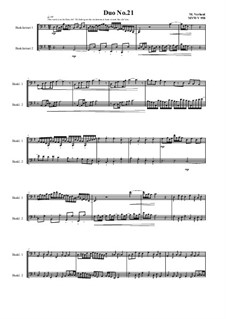 Duos for 2 Bass clarinet, Volume 1: Duo No.21, MVWV 958 by Maurice Verheul