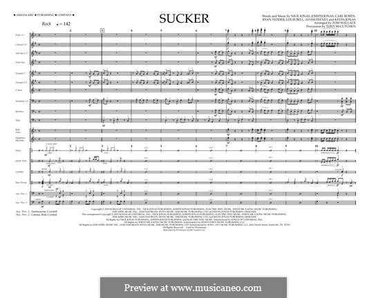 Sucker (Jonas Brothers): Full score (arr. Tom Wallace) by Joseph Jonas, Kevin Jonas Sr., Nicholas Jonas, Ryan B Tedder, Louis Bell, Frank Dukes