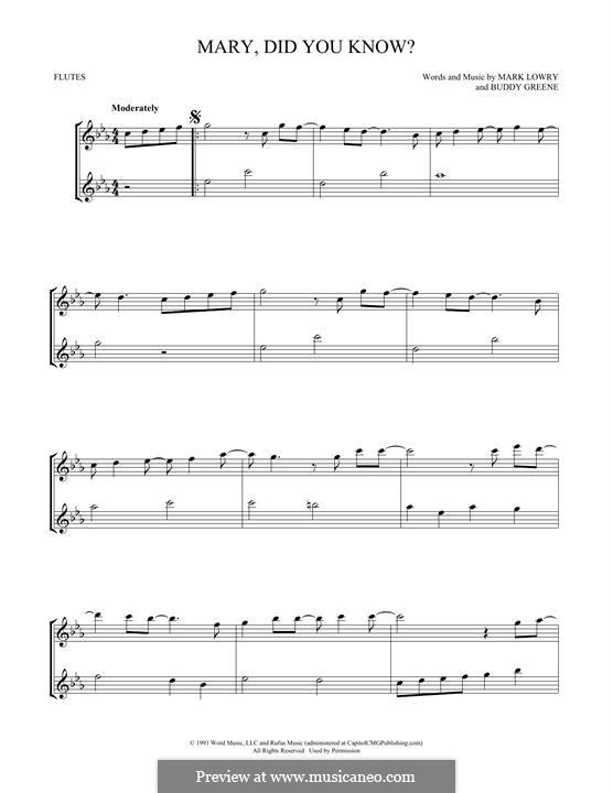Mary Did You Know?: Für zwei Flöten by Bud Green
