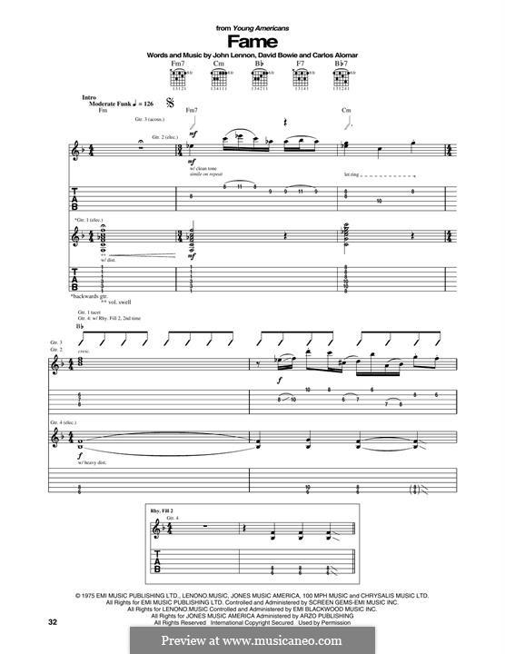 Fame: Für Gitarre mit Tabulatur by Carlos Alomar, David Bowie, John Lennon