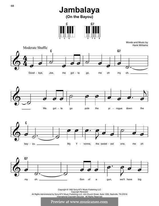 Jambalaya (On the Bayou): Für Klavier by Hank Williams