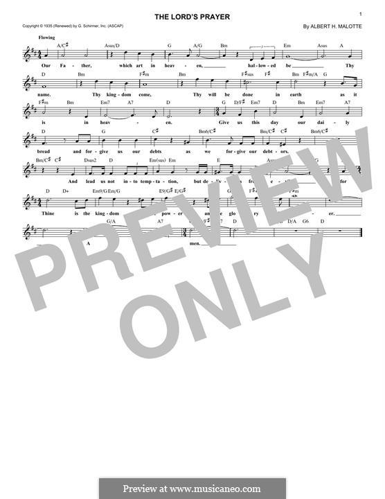 The Lord's Prayer: Melodische Linie by Albert H. Malotte