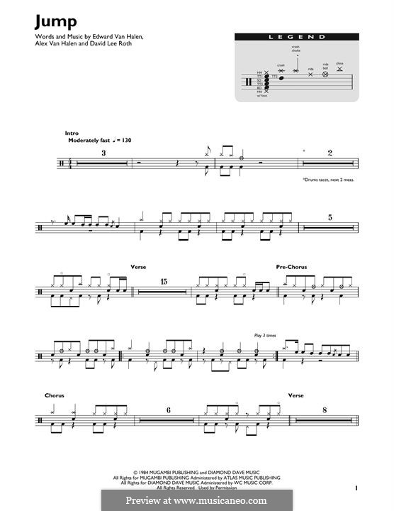 Jump (Van Halen): Drum set by Alex Van Halen, David Lee Roth, Edward Van Halen, Michael Anthony