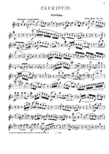 Capriccio in F-Dur für Klavierquartett, Op.43: Violinstimme by Hermann Mohr