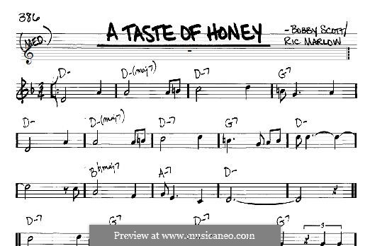 A Taste of Honey (Barbra Streisand): Für Gitarre mit Tabulatur by Bobby Scott