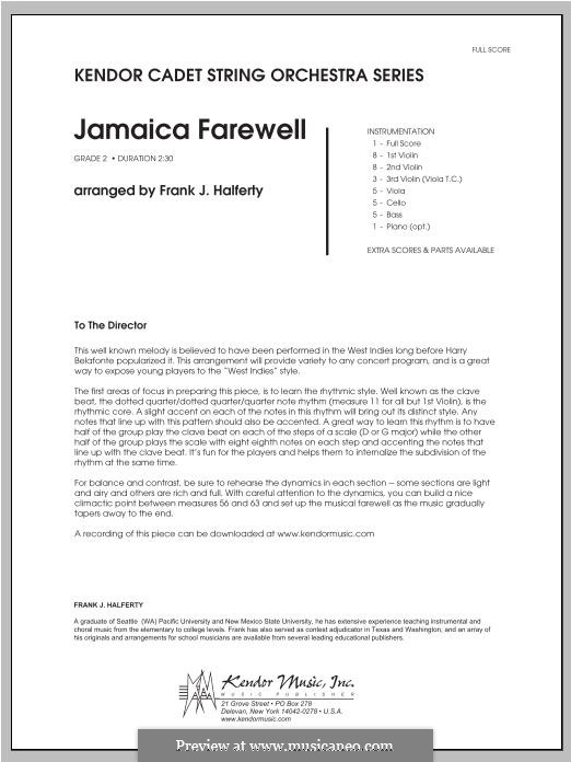 Jamaica Farewell: Vollpartitur by folklore