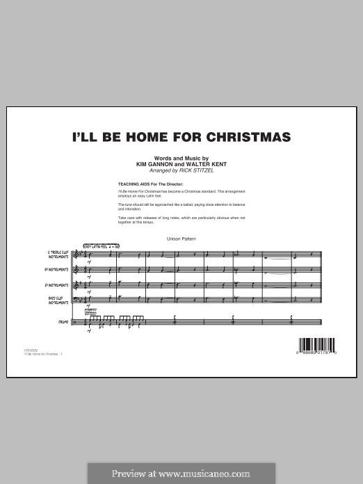I'll Be Home for Christmas: Conductor score (full score) by Kim Gannon, Walter Kent