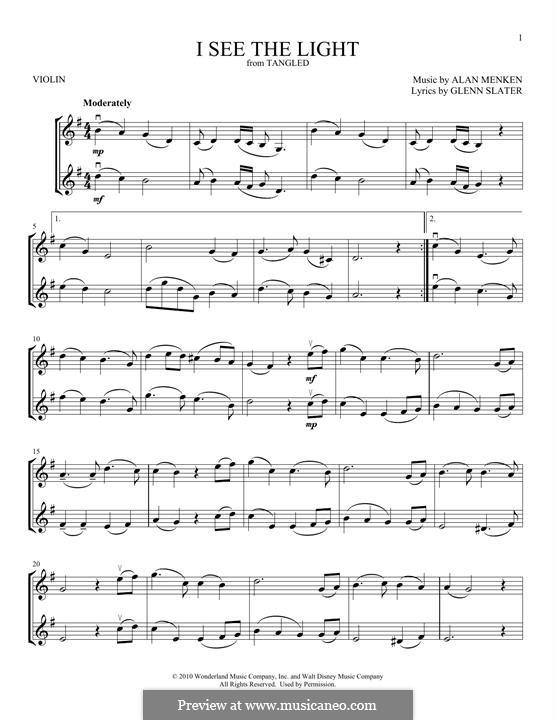 I See the Light: Für zwei Violinen by Alan Menken