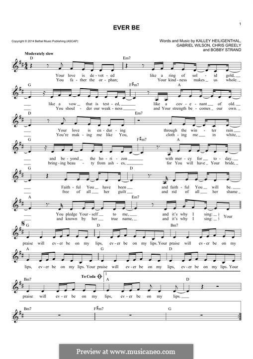 Ever Be: Melodische Linie by Gabriel Wilson, Chris Greely, Kalley Heiligenthal, Bobby Strand