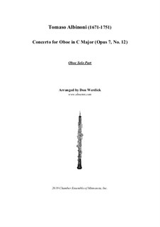 Concerto No.12 in C Major: For oboe and string orchestra – solo part by Tomaso Albinoni