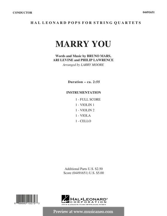 Marry You: Conductor score (full score) by Ari Levine, Bruno Mars, Philip Lawrence
