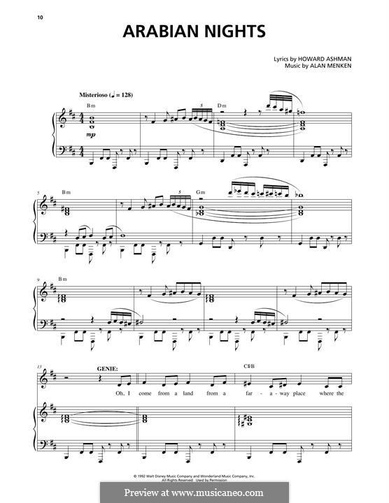 Arabian Nights (from Aladdin): Für Stimme und Klavier by Alan Menken