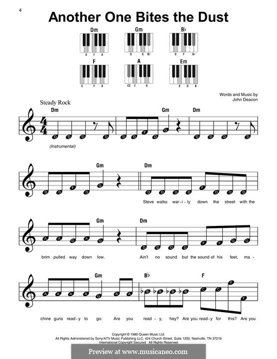 Another One Bites the Dust (Queen): Für Klavier by John Deacon