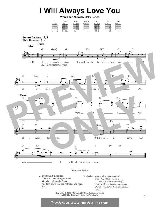 I Will Always Love You (Whitney Houston): Für Gitarre by Dolly Parton