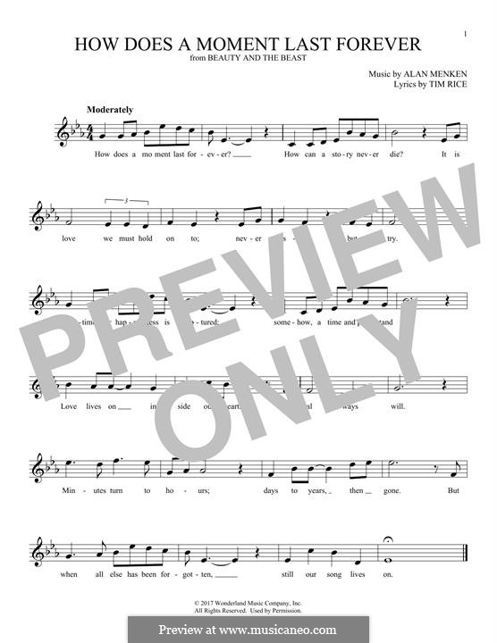 How Does a Moment Last Forever (Celine Dion): Melodische Linie by Alan Menken