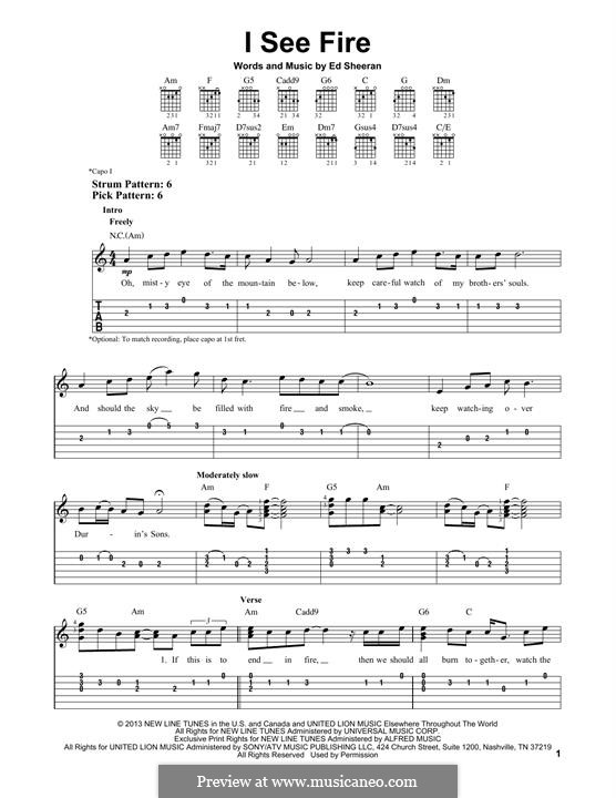 I See Fire (from The Hobbit): Für Gitarre mit Tabulatur by Ed Sheeran