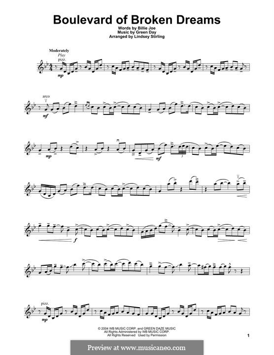 Boulevard of Broken Dreams (Green Day): Für Violine by Billie Joe Armstrong, Tré Cool, Michael Pritchard