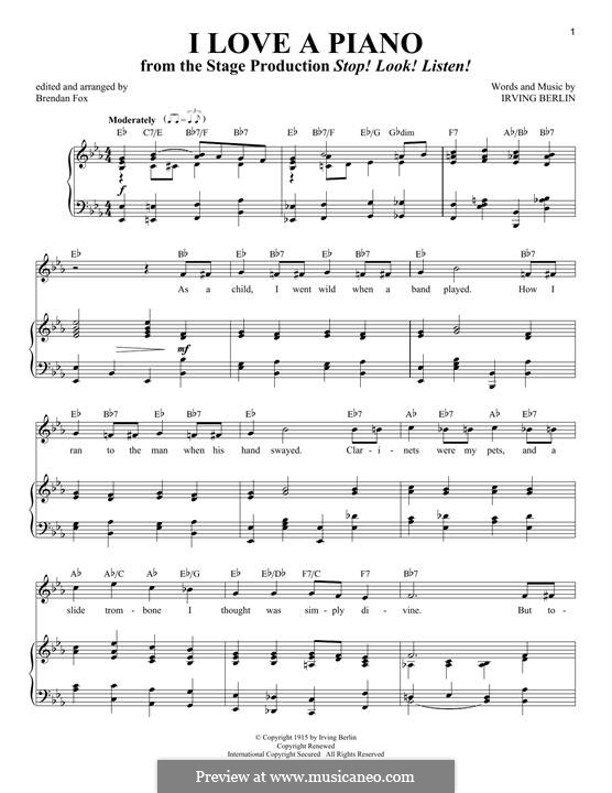 I Love a Piano: Für Stimme und Klavier by Irving Berlin