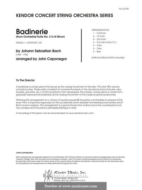 Orchestersuite Nr.2 in h-Moll, BWV 1067: Badinerie, full score (arr. John Caponegro) by Johann Sebastian Bach