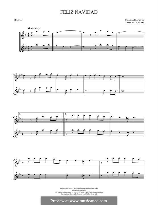 Feliz Navidad: Für zwei Flöten by José Feliciano