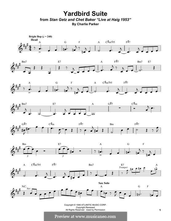 Yardbird Suite: Für Altsaxophon by Charlie Parker