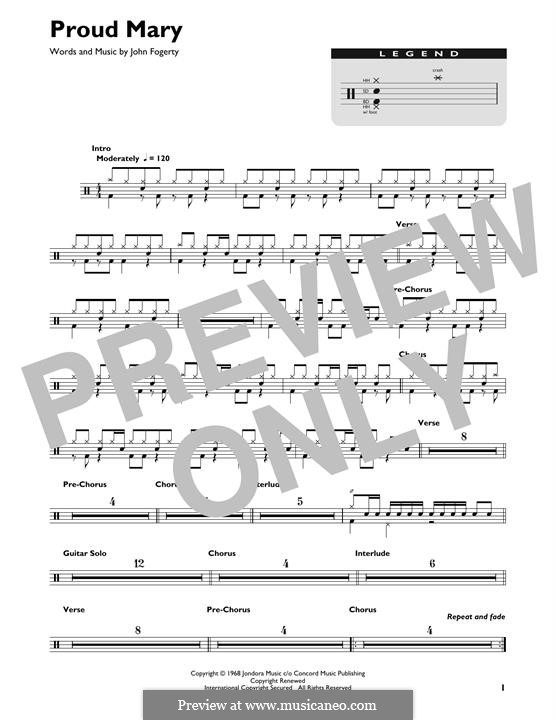 Proud Mary (Creedence Clearwater Revival): Drum set by John C. Fogerty