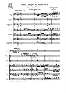 Konzert für Klavier und Orchester Nr.3 in D-Dur, K.40: Vollpartitur und Stimmen by Wolfgang Amadeus Mozart