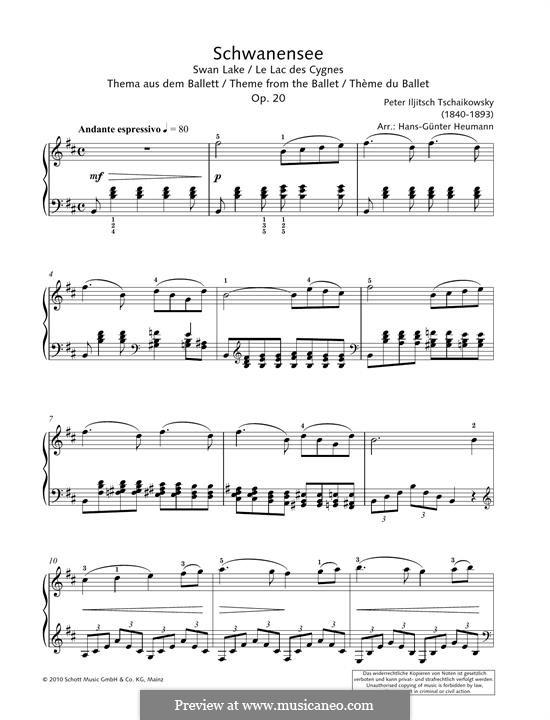 Fragmente: Theme, for piano by Pjotr Tschaikowski