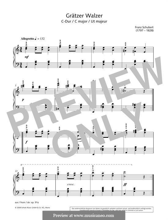 Grätzer Walzer in C major: Grätzer Walzer in C major by Franz Schubert