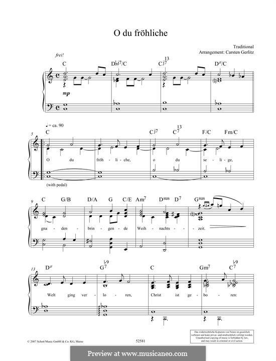 O du fröhliche: Für Klavier by folklore