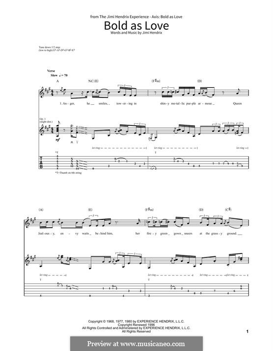 Bold as Love: Für Gitarre by Jimi Hendrix