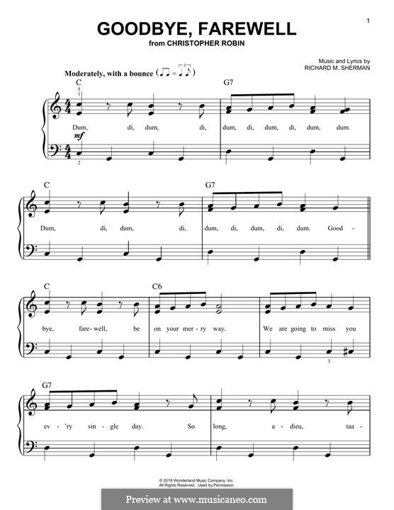 Goodbye, Farewell (from Christopher Robin): Für Klavier by Richard M. Sherman