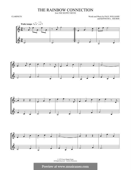 The Rainbow Connection (Kermit the Frog): Für zwei Klarinetten by Paul H. Williams, Kenneth L. Ascher